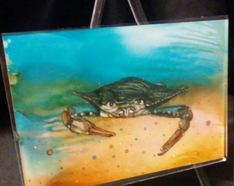 Alcohol Ink Art Blue Crab Print in Easel Frame