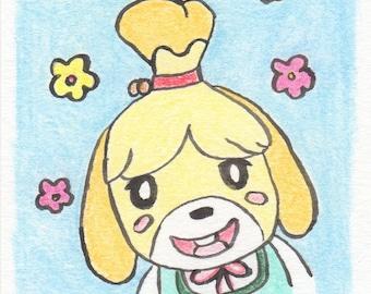 Animal Crossing New Leaf Isabelle Mini Art, Tiny Dog Painting, Shih Tzu Miniature Art, Nintendo Art, Gifts for Sister, Nerd Geek Gifts