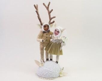 Vintage Style Spun Cotton Deer People Wedding Topper Figure
