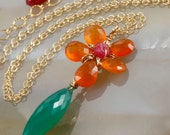 Flower Necklace - Carnelian & Green Onyx