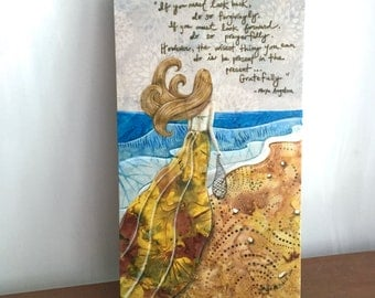 Maya Angelou quote, Nautical beach decor, Be present gratefully,  aqua blue ocean waves, Fabric on Wood art