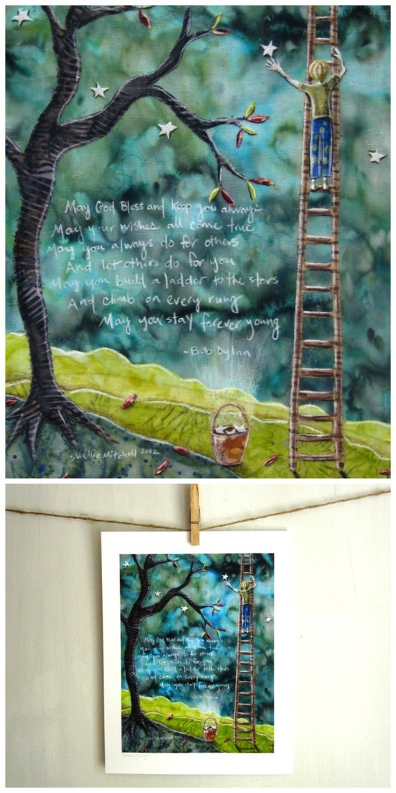 Forever Young, Bob Dylan lyrics, shower gift, little boy nursery new baby,  8.5 x 11 Archival Reproduction Print