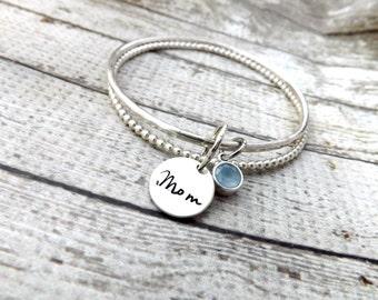 mothers bracelet-stacked bangle bracelets-bangle bracelet- stacked bangles- personalized stacking bangles- personalized bracelet- giftformom