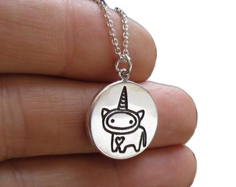 I See Unicorns Necklace - Reversible Sterling Silver Unicorn Pendant