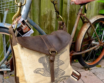 Fulton Eagle A Seamless - Americana Canvas Leather Handbag- vintage fabric.. Selina Vaughan