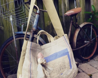 Shabby Chic Lace and stripes - Cream - Paper Boy Courier Bag - Cross body shoulder bag based on vintage newspaper bag