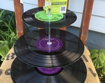 vinyl record tier- use for cupcakes, jewelry, change, etc. One of a kind by GmaJanisew