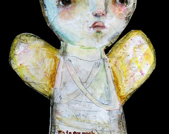Paper Mache Crowned Angel - original by Mindy Lacefield