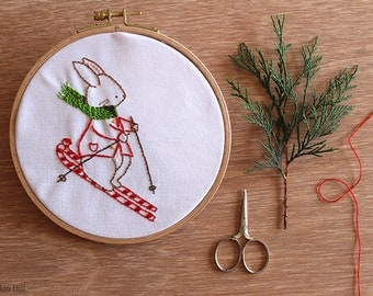 Bunny's Ski Time - Hand Embroidery Pattern - PDF Pattern  - Instant Download