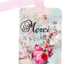 Merci Gift Tags , French Tags , Dove Tags , Bird Tags , Shabby and chic Style , Cottage Style , Feminine Tags Pink and Aqua , Dove and Roses