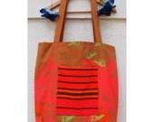 Oversize Large Tote Bag Orange Pocket
