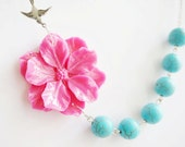 Beaded Necklace,Turquoise Necklace,Turquoise Jewelry,Hot Pink Necklace,Hot Pink Flower Necklace,Bridesmaid Jewelry Set,Beaded Necklace,Gift