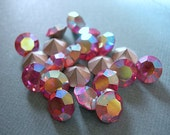 Vintage Swarovski Rhinestone Crystals Chatons ROSE PINK AB ss48 11mm Rainbow Silver Foil Demifin Glass lot of 10