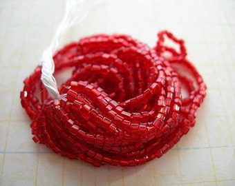 Vintage Tri Cuts Seed Beads Hank BRIGHT CHERRY RED Metallic Silver-lined 2 cuts full petite 9 strands size 12-0