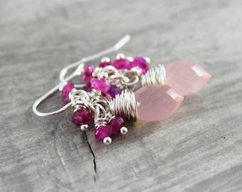 Pink Gemstone Earrings, Sterling Silver Earrings, Pink Rainbow Moonstone, Wire Wrap Earrings, Light Blush Pink, Hot Pink Earrings, Dangle