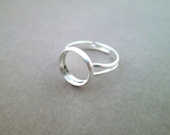 10mm Silver Plated Bezel Adjustable Ring Blanks, A183