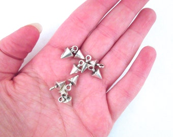 10 Silver Plated Spike Charms, 7x13mm, D97