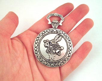 1 Ornate Pendant 35mm Cabochon Setting,  Antique Silver Plated Alice in Wonderland Pocket Watch Setting B241