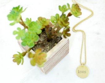 YEAR Charm Brass Necklace Hand Stamped