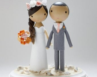 custom wedding cake topper - beach theme
