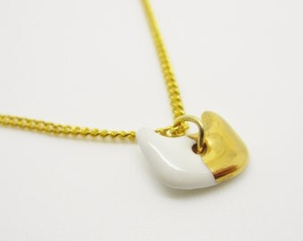 Metallic Gold Half Dipped Small Cat Necklace Glazed Ceramic Porcelain on an 18 inch Gold Chain