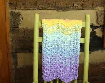 Crochet Baby Afghan Blanket Rainbow Crochet Throw  Baby Shower Gift Boy or Girl Nursery Decor Ripple Wave afghan