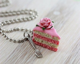Pink Rose Cake Necklace