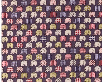 HALF YARD Kokka Fabric - Multi colored Elephants on Slate GREY - Stripes, Polka Dots, Stars, Checkers - Japanese Import Fabric