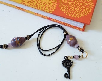 Beaded Bookmark Black Skeleton Key/ Lavender And Gold/ Glass And Metal Beaded Cotton Cord With Metal Charm/ Book Lover/ Journal Marker