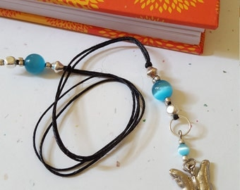 Butterfly Beaded Bookmark / Blue And Silver Glass Beaded Cord With Metal Charm/ Handmade Gift Idea For Readers/ Book Lovers/ Journal Writers