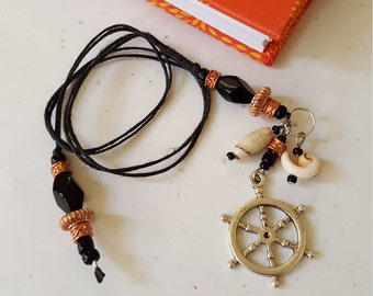 Beaded Bookmark Captains Wheel / Black And Copper / Shells / Nautical/ Handmade Book Thong/ Journal Marker/ Readers Gift / Bookworms