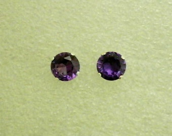 7mm Lab Created Alexandrite Gemstone in 925 Sterling Silver Stud Earrings SnapsByAnthony June Birthstone