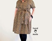 Wildcat Dress - plus size, size 24 26W, xxxl, 3X, cheetah print vintage cotton, retro collar, full gathered skirt + pockets -- 54B-47W-80H