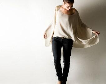 Oversized top, Silk top, Silk blouse, Silk shirt, Kaftan, Tunic, Women clothing, Plus size top, Batwing top, sequin top, ivory shirt