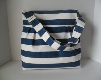 Diaper Bag Large in Navy and White Stripe Fabric with Adjustable Strap - Messenger Bag - Diaper Bag - Monogramming Available - Nautical Bag