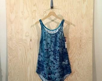 LAST ONE - Oversized Minimalist Marimekko Linen Tank Dress in Marine Blue - size xs/sm