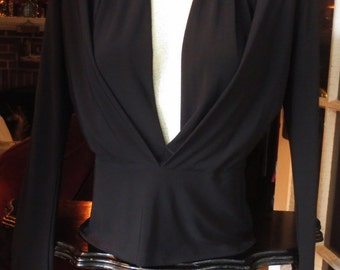 Vintage Black Sexy Plunging Neckline Blouse Top Small