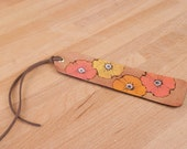 Leather Bookmark - Poppy Garden Pattern with flowers - Pink, yellow, orange