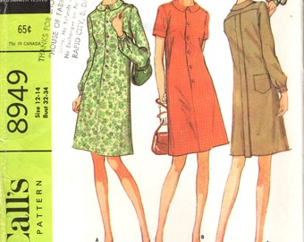 McCall's 8949 SHIRT TYPE DRESS Size 12-14 Bust 32-34 Vintage 1960s ©1967
