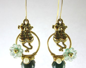 Lover Cats With Green Gemstones Earrings Kitten Kitty Flower Shell Pearls Pet Garden Wild Animal Home Nature Cute Jewelry
