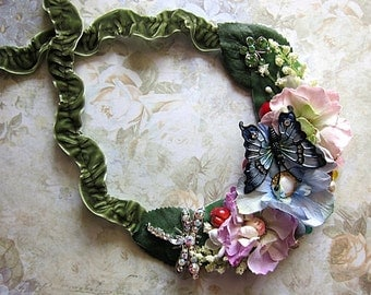 Butterfly And Dragonfly In the Fairy Garden Necklace Fay Fae Realm Faerie Fantasy Nature Forest Leaves Gemstones Glam Bib Green Flowers