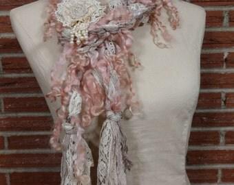 Handspun Art Yarn Lariat Scarf with Lace Romantic Shabby pink cream beige