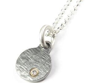 Offset Diamond Charm Necklace