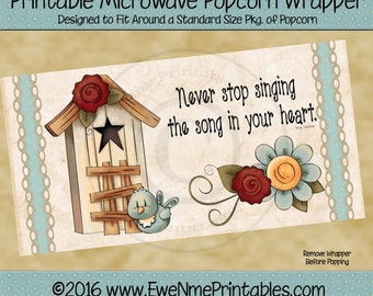 Instant Download - Printable Popcorn Wrapper - Never Stop Singing 101 -  PDF and/or JPG File