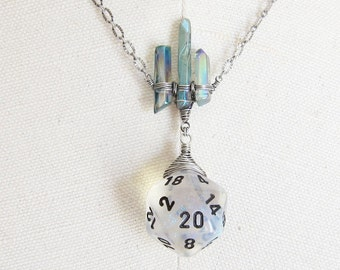 Song of the Sea Siren: Dungeons and Dragons D20 Necklace, Wire Wrapped, Hand Woven, Wire Weave, Glitter, Silver, Crystal Shards
