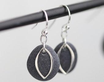 Stone earrings -Stone jewelry - Maid of honor Gift - Alaska Beach Stones - Sterling silver earrings - Simple Earrings - Natural Jewelry