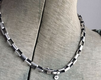 Sterling Silver Heavy Box Chain 17 Inch Rocker Necklace Him or Her