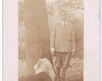 vintage photo African American Young Boy in Wool Suit Knickers w Dog 1938