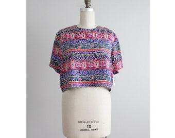 silk crop top / floral silk blouse / silk blouse large