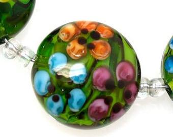 Green flower Lentil Handwork Beads - Lampwork beads, Glass beads , lampwork glass beads, lampwork, glass, ,handemade beads